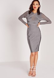 Missguided Premium Long Sleeve Bandage Bodycon Dress Grey Grey