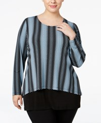 Alfani Plus Size Flyaway Back Chevron Print Top Only At Macy's Mod Lines Chambray