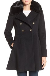 Via Spiga Women's Double Breasted Coat With Faux Fur Collar Black