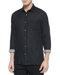 Vince Double Face Long Sleeve Woven Shirt Black