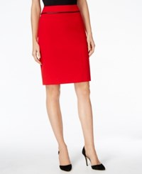 Calvin Klein Faux Leather Trim Pencil Skirt Red