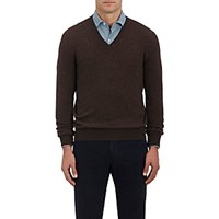 Barneys New York Men's Cashmere V Neck Sweater Brown
