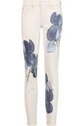 Tory Burch London Mid Rise Printed Slim Leg Jeans Off White