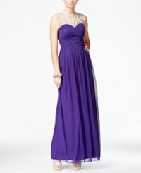 City Triangles City Studios Juniors' Jeweled Illusion Ruched Gown