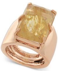 Vince Camuto Rose Gold Tone Large Stone Adjustable Ring