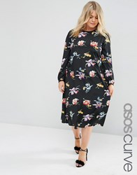 Asos Curve Floral Print Midi Column Dress With Long Sleeve Print Multi