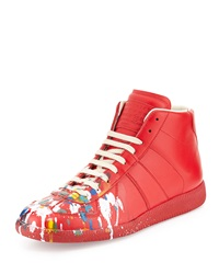 Maison Martin Margiela Maison Margiela Paint Splatter Replica High Top Sneaker Red