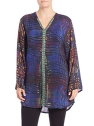 Johnny Was Plus Size Long Sleeve Printed Tunic