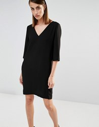 Selected V Neck Shift Dress With Front Pockets Black