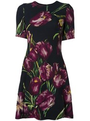Dolce And Gabbana Tulip Print Flared Dress Black