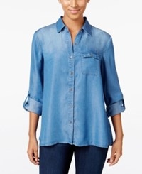 Styleandco. Style Co. Petite Denim Button Back Shirt Only At Macy's Sun Wash