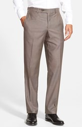 Men's Ted Baker London 'Jefferson' Flat Front Wool Trousers Taupe