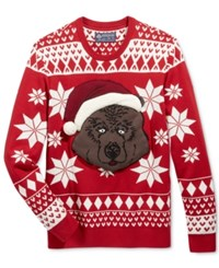 American Rag Men's Merry Beary Holiday Sweater Only At Macy's Lipstick Red