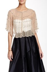 Adrianna Papell Beaded Tulle Cover Up White