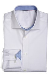 Bugatchi Men's Big And Tall Shaped Fit Houndstooth Dress Shirt White