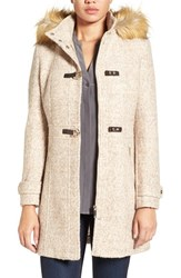 Ivanka Trump Women's Hooded Toggle Coat With Faux Fur Trim