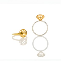 Lestie Lee Diamond Cage Ring Gold