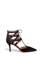 Aquazzura 'Belgravia' Caged Suede Pumps Black