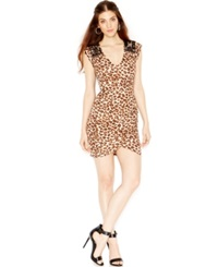 Guess Open Back Animal Print Bodycon Dress African Cheetah Multi