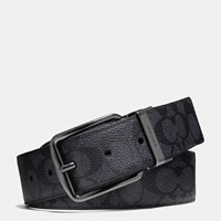 Coach Wide Harness Cut To Size Reversible Signature Belt Charcoal Black