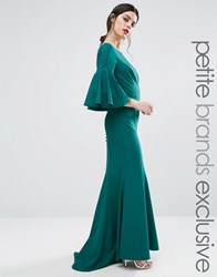Jarlo Petite Maxi Dress With Bell Sleeve And Button Back Detail Emerald Green