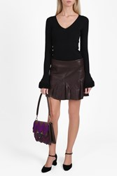 Derek Lam Leather Flared Mini Skirt Brown
