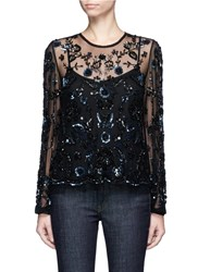 Needle And Thread Butterfly Floral Embellished Tulle Blouse Black