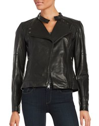 Karl Lagerfeld Asymmetrical Zipper Leather Moto Jacket Black
