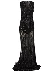 Zuhair Murad Beaded Sheer Gown Black