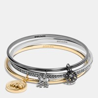 Coach Horse And Carriage Coin Mix Bangle Set Gold Silver