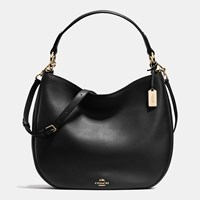 Coach Nomad Hobo In Glovetanned Leather Light Gold Black