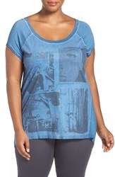 Addition Elle Love And Legend Plus Size Women's Print Faux Suede Front Tee Turkish Blue
