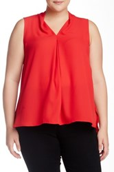 14Th And Union Woven Sleeveless Blouse Plus Size Red