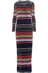 Missoni Striped Metallic Crochet Knit Maxi Dress Black