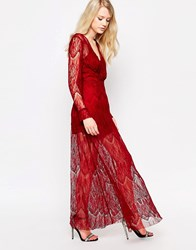 Jovonna Highfield Maxi Dress In Lace Wine Red