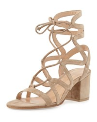 Gianvito Rossi Lace Up Block Heel 60Mm Suede Gladiator Sandal Bisque