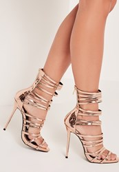 Missguided Ultra Strappy Gladiator Sandals Rose Gold