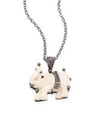 Nina Gilin Diamond And Bone Elephant Pendant Necklace Silver White