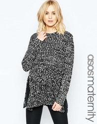 Asos Maternity Chunky Knit Jumper With Side Splits Black