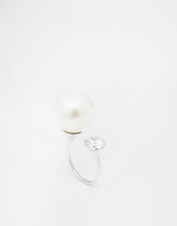 Love Rocks Faux Pearl And Stone Open Ring Cream