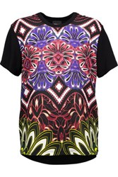 Just Cavalli Printed Crepe And Stretch Jersey T Shirt Purple