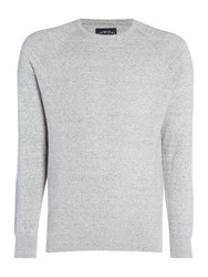 Criminal Keymoor Raglan Crew Neck Jumper Light Grey Marl