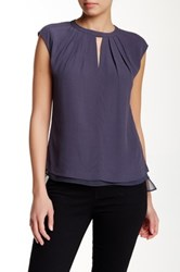 Rebecca Taylor Short Sleeve Cut Out Blouse Blue