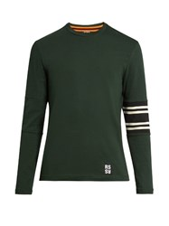 Raf Simons Elbow Patch Long Sleeved Cotton T Shirt Green Multi