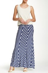 Max Studio Wide Chevron Stripe Maxi Skirt Blue