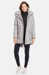 Lauren Ralph Lauren 'Easton' Faux Fur Trim Tweed Anorak With Down And Feather Fill Online Only Grey White