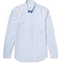 Loro Piana Alfred Button Down Collar Checked Brushed Cotton Shirt Blue