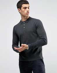 Selected Homme Long Sleeve Polo With Raglan Sleeve Dark Grey
