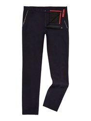 Hugo Halyk Leather Trim Trousers Navy