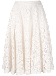 Strasburgo Flared Lace Detail Skirt White